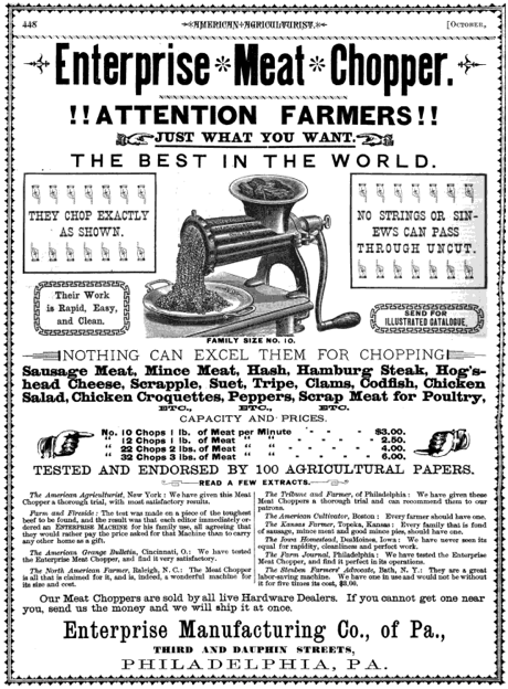 Meat chopper ad